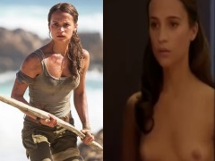 Alicia vikander of tomb rider movie scene