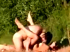 Couple caught fucking in grass park
