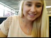 Hot teen mastrubates on webcam in library